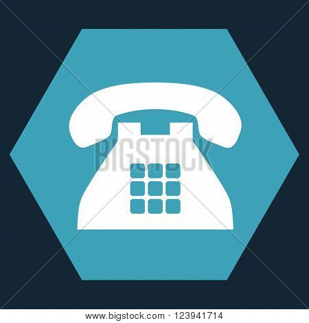 Tone Phone vector icon. Image style is bicolor flat tone phone iconic symbol drawn on a hexagon with blue and white colors.