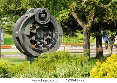 TORUN, POLAND - JULY 7, 2009: Sculpture representing the heliocentric system by Joseph Kopczynskiego erected in 1973 at Rapackiego square commemorating the 500th birthday of Copernicus