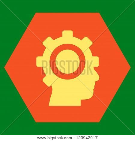 Cyborg Gear vector icon. Image style is bicolor flat cyborg gear iconic symbol drawn on a hexagon with orange and yellow colors.