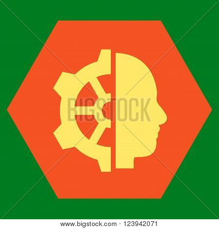 Cyborg Gear vector pictogram. Image style is bicolor flat cyborg gear iconic symbol drawn on a hexagon with orange and yellow colors.