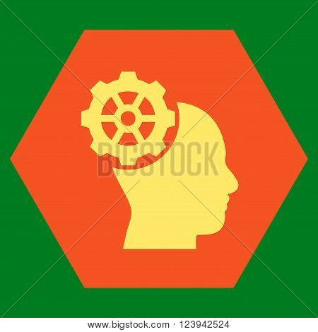 Head Gear vector icon symbol. Image style is bicolor flat head gear pictogram symbol drawn on a hexagon with orange and yellow colors.