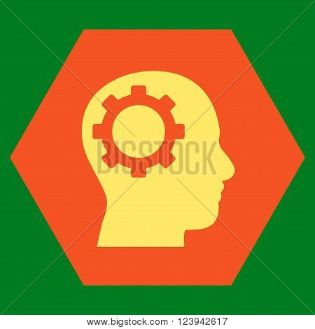 Intellect Gear vector icon symbol. Image style is bicolor flat intellect gear pictogram symbol drawn on a hexagon with orange and yellow colors.