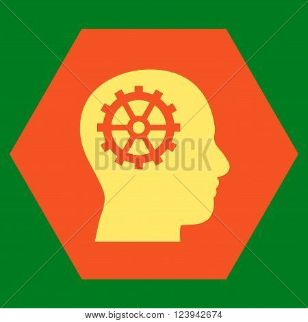 Intellect vector icon symbol. Image style is bicolor flat intellect iconic symbol drawn on a hexagon with orange and yellow colors.