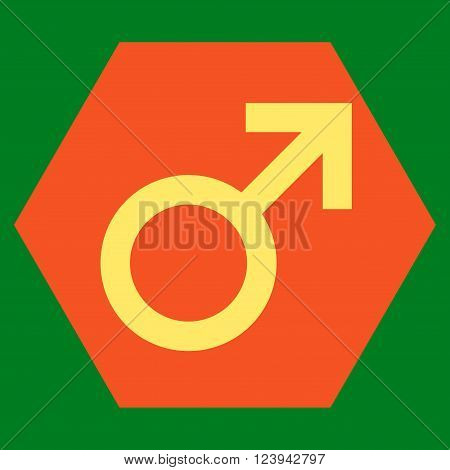 Male Symbol vector icon. Image style is bicolor flat male symbol icon symbol drawn on a hexagon with orange and yellow colors.