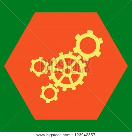 Mechanism vector symbol. Image style is bicolor flat mechanism iconic symbol drawn on a hexagon with orange and yellow colors.