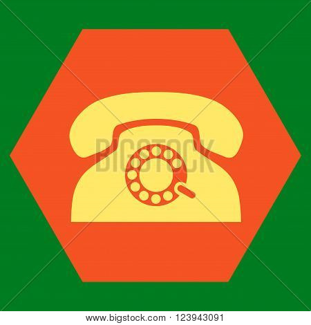 Pulse Phone vector symbol. Image style is bicolor flat pulse phone iconic symbol drawn on a hexagon with orange and yellow colors.