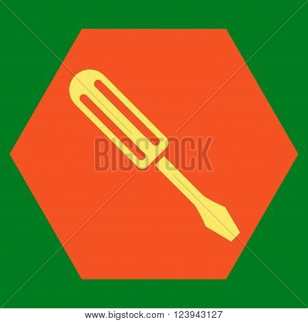 Screwdriver vector icon. Image style is bicolor flat screwdriver pictogram symbol drawn on a hexagon with orange and yellow colors.