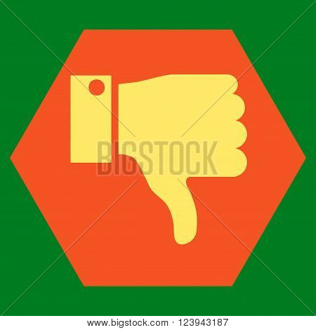 Thumb Down vector icon. Image style is bicolor flat thumb down icon symbol drawn on a hexagon with orange and yellow colors.
