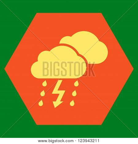 Thunderstorm vector icon symbol. Image style is bicolor flat thunderstorm iconic symbol drawn on a hexagon with orange and yellow colors.