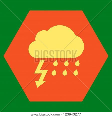 Thunderstorm vector pictogram. Image style is bicolor flat thunderstorm icon symbol drawn on a hexagon with orange and yellow colors.