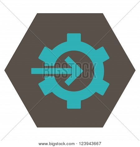 Cog Integration vector pictogram. Image style is bicolor flat cog integration pictogram symbol drawn on a hexagon with grey and cyan colors.