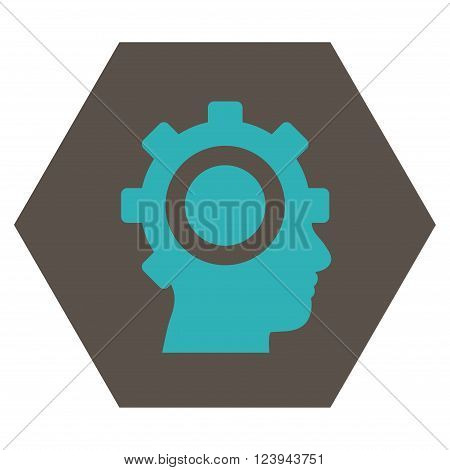 Cyborg Gear vector pictogram. Image style is bicolor flat cyborg gear icon symbol drawn on a hexagon with grey and cyan colors.