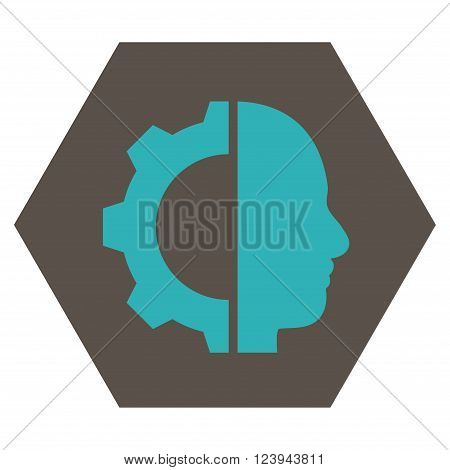 Cyborg Gear vector icon symbol. Image style is bicolor flat cyborg gear pictogram symbol drawn on a hexagon with grey and cyan colors.