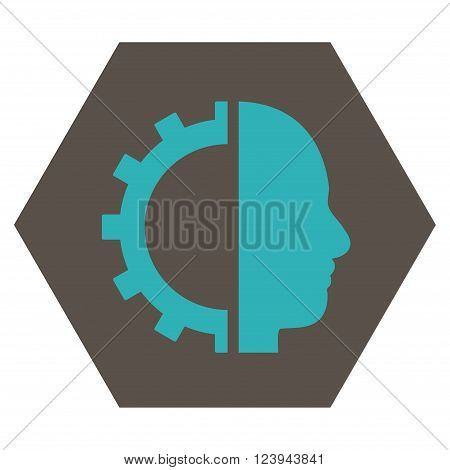Cyborg Gear vector icon. Image style is bicolor flat cyborg gear iconic symbol drawn on a hexagon with grey and cyan colors.