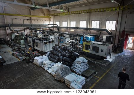 Saint-Petersburg, Russia - March 23, 2016: Aerial view of the machine factory production line. A number of automated lathes and milling machines.