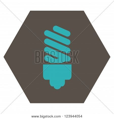 Fluorescent Bulb vector icon. Image style is bicolor flat fluorescent bulb pictogram symbol drawn on a hexagon with grey and cyan colors.