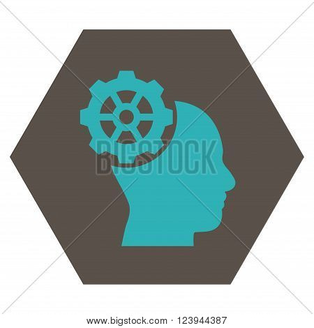 Head Gear vector icon. Image style is bicolor flat head gear pictogram symbol drawn on a hexagon with grey and cyan colors.