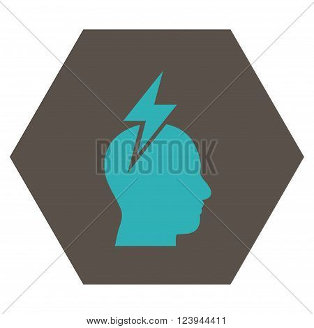 Headache vector pictogram. Image style is bicolor flat headache icon symbol drawn on a hexagon with grey and cyan colors.
