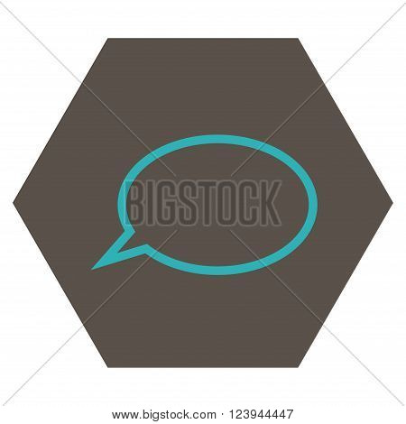 Hint Cloud vector icon. Image style is bicolor flat hint cloud iconic symbol drawn on a hexagon with grey and cyan colors.