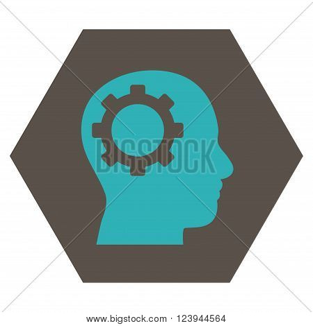 Intellect Gear vector pictogram. Image style is bicolor flat intellect gear icon symbol drawn on a hexagon with grey and cyan colors.