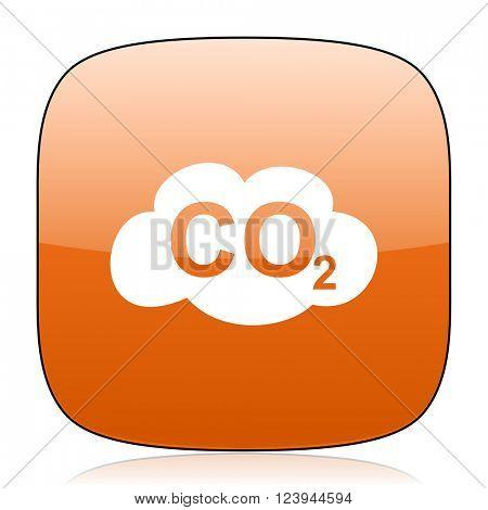 carbon dioxide orange square glossy web icon