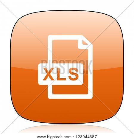 xls file orange square glossy web icon