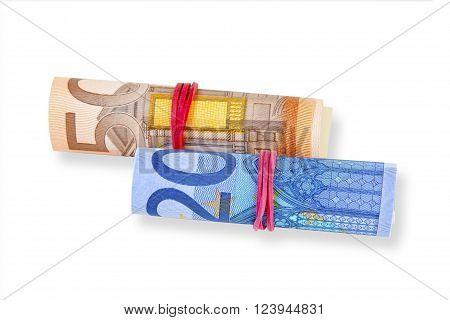 Euro Banknotes on white Background. Shot in Studio