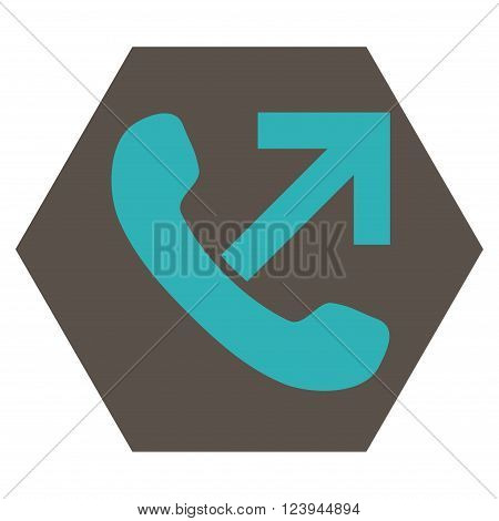 Outgoing Call vector icon symbol. Image style is bicolor flat outgoing call pictogram symbol drawn on a hexagon with grey and cyan colors.