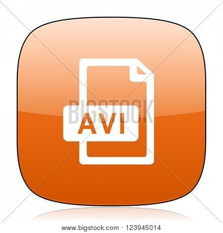 avi file orange square glossy web icon