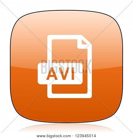 avi file orange square glossy web icon