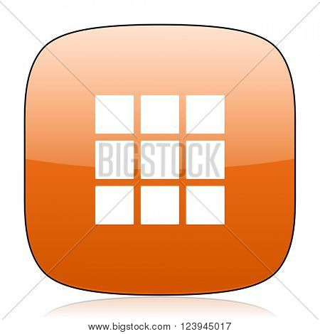 thumbnails grid orange square glossy web icon