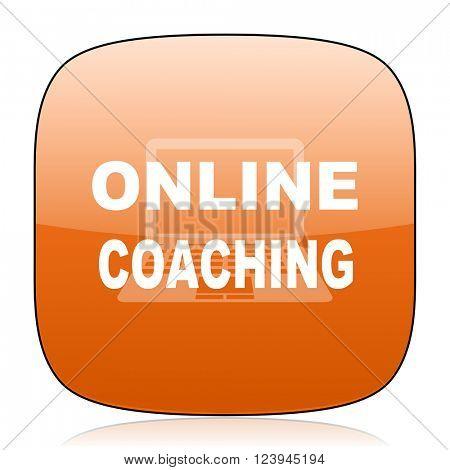 online coaching orange square glossy web icon