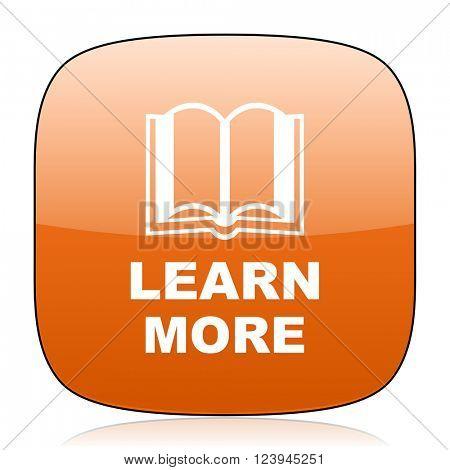 learn more orange square glossy web icon