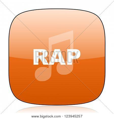 rap music orange square glossy web icon