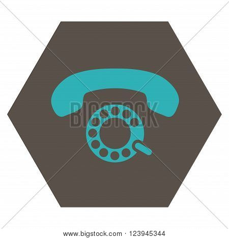 Pulse Dialing vector icon. Image style is bicolor flat pulse dialing pictogram symbol drawn on a hexagon with grey and cyan colors.