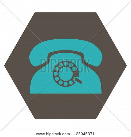 Pulse Phone vector symbol. Image style is bicolor flat pulse phone iconic symbol drawn on a hexagon with grey and cyan colors.