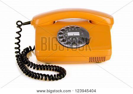 Retro vintage phone isolated on white Background.
