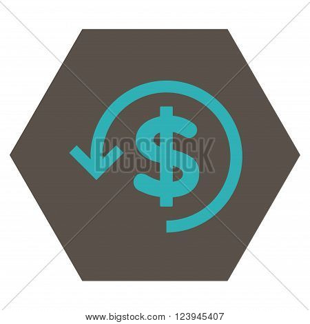 Refund vector pictogram. Image style is bicolor flat refund icon symbol drawn on a hexagon with grey and cyan colors.