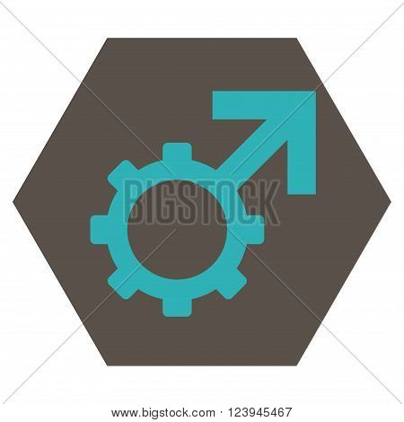 Technological Potence vector icon symbol. Image style is bicolor flat technological potence pictogram symbol drawn on a hexagon with grey and cyan colors.