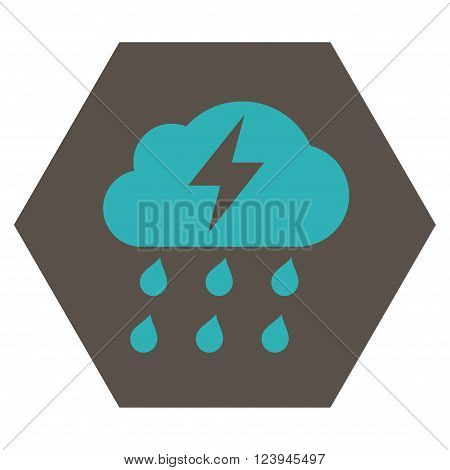 Thunderstorm vector icon symbol. Image style is bicolor flat thunderstorm pictogram symbol drawn on a hexagon with grey and cyan colors.