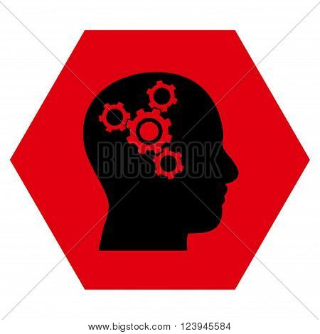 Brain Mechanics vector pictogram. Image style is bicolor flat brain mechanics icon symbol drawn on a hexagon with intensive red and black colors.