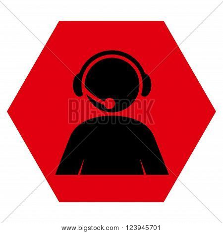 Call Center Operator vector icon. Image style is bicolor flat call center operator pictogram symbol drawn on a hexagon with intensive red and black colors.
