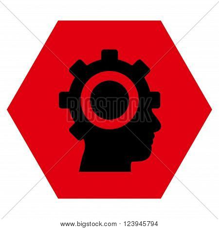 Cyborg Gear vector pictogram. Image style is bicolor flat cyborg gear icon symbol drawn on a hexagon with intensive red and black colors.
