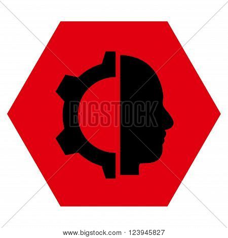 Cyborg Gear vector icon. Image style is bicolor flat cyborg gear icon symbol drawn on a hexagon with intensive red and black colors.