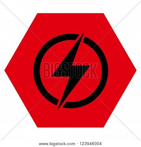Electricity vector pictogram. Image style is bicolor flat electricity iconic symbol drawn on a hexagon with intensive red and black colors.