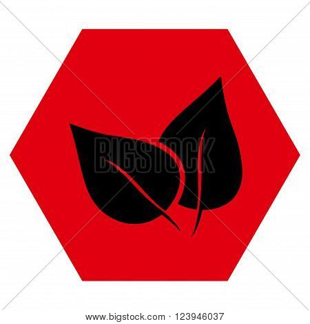 Flora Plant vector symbol. Image style is bicolor flat flora plant pictogram symbol drawn on a hexagon with intensive red and black colors.