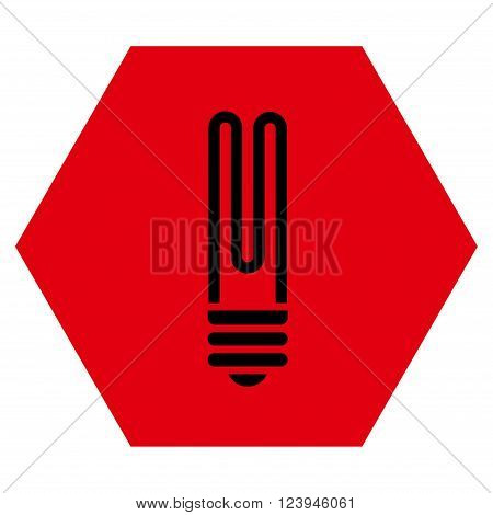 Fluorescent Bulb vector symbol. Image style is bicolor flat fluorescent bulb iconic symbol drawn on a hexagon with intensive red and black colors.