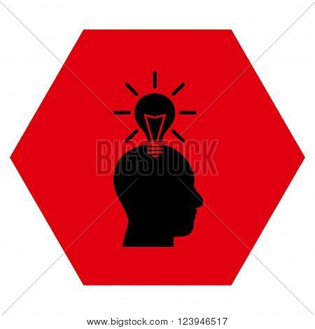 Genius Bulb vector icon symbol. Image style is bicolor flat genius bulb icon symbol drawn on a hexagon with intensive red and black colors.