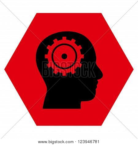 Intellect vector symbol. Image style is bicolor flat intellect icon symbol drawn on a hexagon with intensive red and black colors.