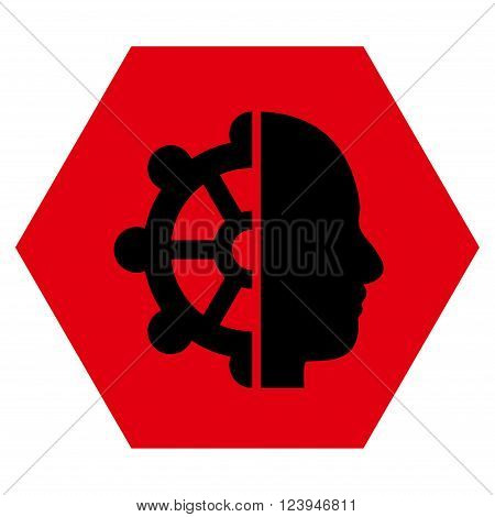 Intellect vector icon symbol. Image style is bicolor flat intellect pictogram symbol drawn on a hexagon with intensive red and black colors.
